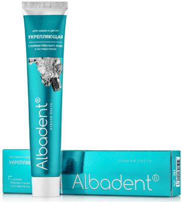 Зубная паста Альбадент УКРЕПЛЯЮЩАЯ для дёсен и эмали с солями Мёртвого моря и Активитином, 95г